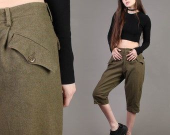 vintage ARMY + SKI PANTS wool knickers military trousers cropped khaki green wwii 1940s 40s M