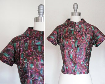 Vintage 60s Stained Glass Mandarin Collar Shell Blouse w Bow Tie sz Small