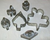 Vintage Tin Cookie Cutters - Playing Card Suits - Heart, Spade, Club, Diamond - Baking - Crafts