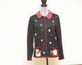 Vintage Women's ugly Christmas sweater cardigan with snowmen size medium by Studio Joy