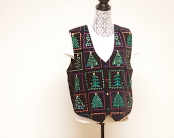 Vintage Black Women's ugly Christmas vest with Christmas Trees size large by Tantrums