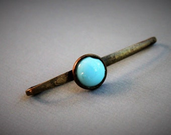 Victorian Persian Turquoise Bar Pin / Antique Blue Glass Lingerie Brooch