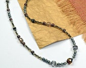 Beaded Wrap.. Amber Silver, Glass, Coco Channel, Pearls, Elegant, Necklace, Wrap Bracelet cbwsn117