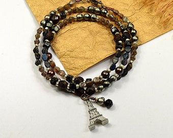 Boho Wrap.. Paris, Coco Channel, Beaded Vintage,  Black Bronze, Wrap Bracelet, cbwsn118