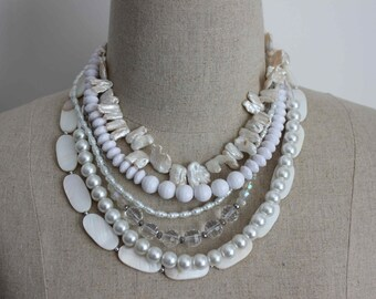 Stunning Statement Beaded Multistrand Pearl, Shell and Crystal Chunky Necklace in White, Beach Bride, Bridal, Special Occasion