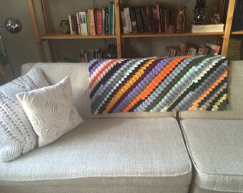 Pristine Vintage Diagonal Striped Throw, Knit Afghan