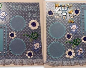 Boy Baby Premade Monkey Scrapbook 2 Page Set 12x12