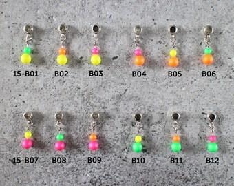 Cord bracelet charm - neon Swarovski pearl