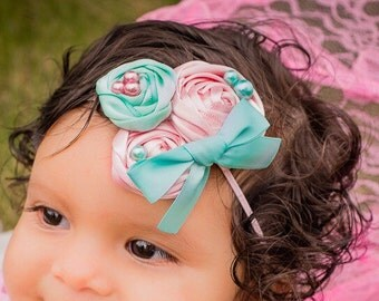 Baby Girl Fabric Rosette Headband Sea Foam Aqua Light Pink Skinny Band, Newborn Satin Flowers photo prop baby shower gift easter pastel