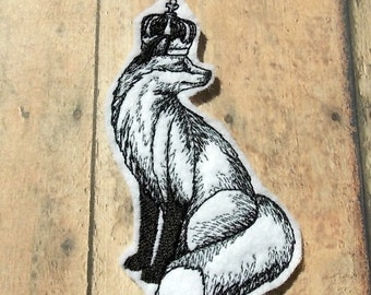 Regal Fox Embroidered Patch, Sew On or Iron On, King