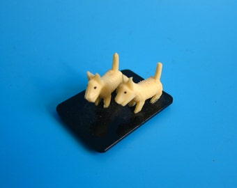 Vintage Celluloid Scottie Dogs Miniature Figure carved pressed japan 1930s 40s pup puppy dog mini small tiny