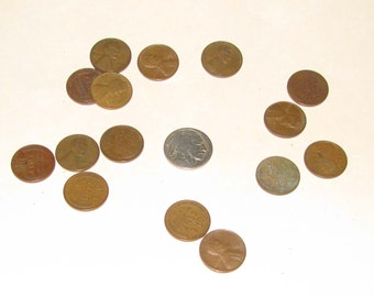 "Twenty ""wheatie"" pennies and an Indian Head nickel"