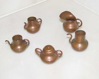 Antique copper dollhouse pots and pitchers