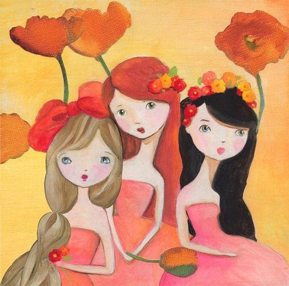 Flower Girl Fairies Best Friends Art Print