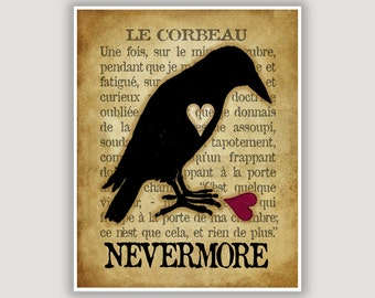 Raven Print, Le Corbeau, The Raven, Edgar Allan Poe, Nevermore, raven wall art, goth art, macabre art, library art, Halloween art, French