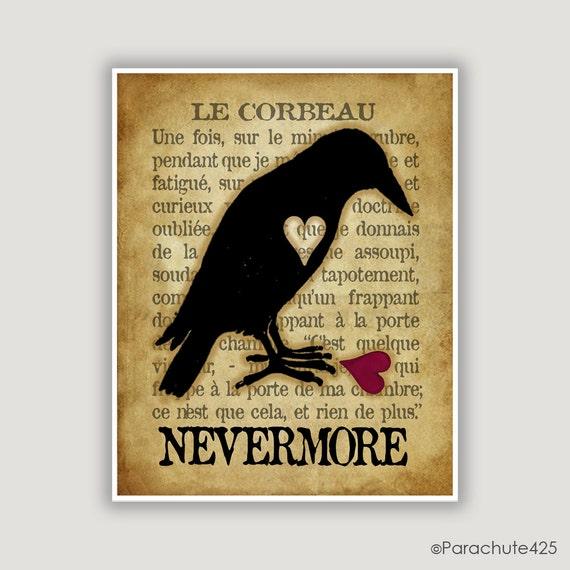 Le Corbeau, The Raven, Edgar Allan Poe, raven wall art, goth art, macabre art, French language, literature print, library art, Halloween art