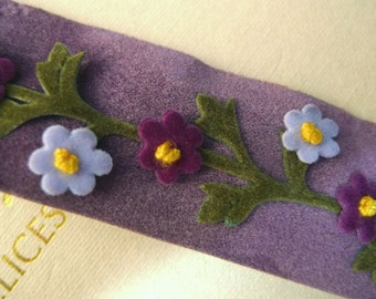 Embroidered trim, Handmade trim, Floral trim, Velvet trim, Purple trim, Retro style Vintage style trim, 6 yards NT288