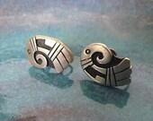 Vintage Southwestern Sterling Silver Hopi Native American Symbol Screw On Earrings