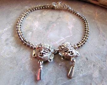 Vintage Signed Premex Sterling Silver Tribal Mask Bracelet