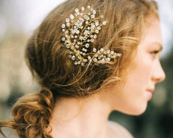 Wedding Hair Accessory, Vintage style bridal hair comb with Crystals - Sweet as Honey