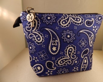Indigo Blue royal Bandana Print Makeup Bag Cosmetic Travel Bag Organizer Bag Cute