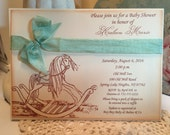 Rocking Horse Baby Shower Invitation...Neutral Baby Shower Baby Boy Baby Girl Vintage Style..Rocking Horse