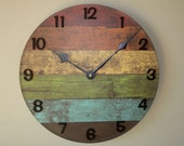 SILENT Rustic Wall Clock in Warm Colors, Reclaimed Wood Image Wall Clock, Unique Wall Clock, Unique Wall Decor, (NOT Real Wood) - 2244