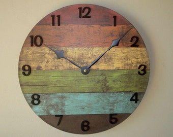 SILENT Rustic Wall Clock in Warm Colors, Reclaimed Wood Image Wall Clock, Unique Wall Clock, Unique Wall Decor, (NOT Real Wood) - 2118