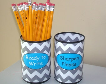 Gray Chevron Desk Accessories - Tin Can Pencil Holder with Labels - Classroom Organization - Teacher Gift - Teacher Supplies  925