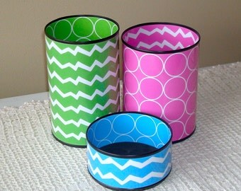 Fun Desk Accessories in LOTS OF COLORS - Funky Chevron and Circles Pencil Holder - Gift for Coworker - Desk Organizer - Dorm Decor - 944