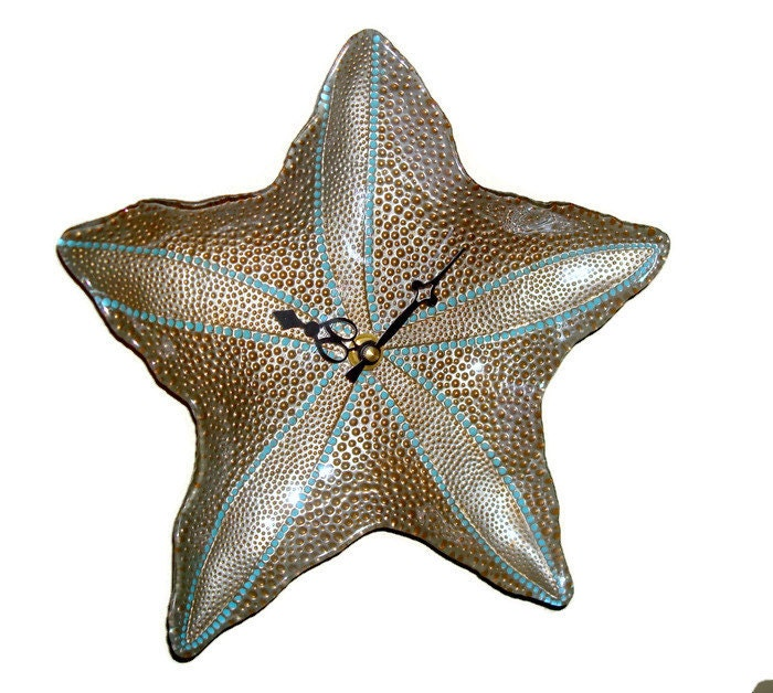 Gold Starfish Wall Decor : Starfish wall clock silver and gold glass