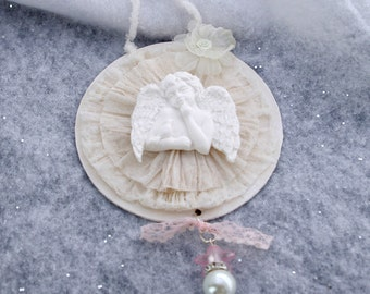 Holiday Christmas Ornament, Decoration. Angel Ornament, Shabby Chic
