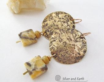 Hammered Brass Earrings with Feldspar Stones, Metalwork Jewelry, Natural Stone Earrings, Earthy Organic Modern Metal Jewelry, Gold Earrings