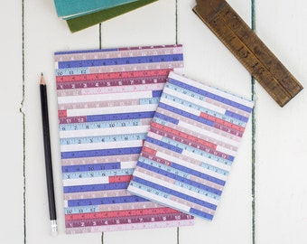 Tape Measure Notebook Set, multipack unlined notepad, plain paper a5 and a6 sketchbook, blue, pink and red colours