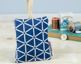 Karin Lavender Bag, striking fabric, gentle scent, blue and white geometric pattern design