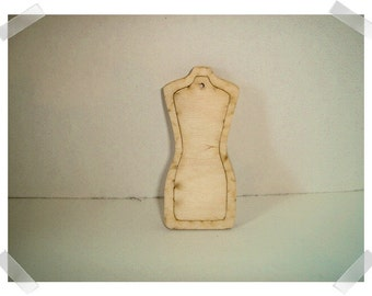 Small Wooden Dress Form Frame & Tag- Unfinished/ Craft Supplies*
