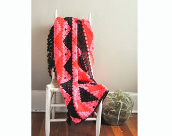 Vintage Bold and Bright Pink Red and Black Afghan Throw Blanket