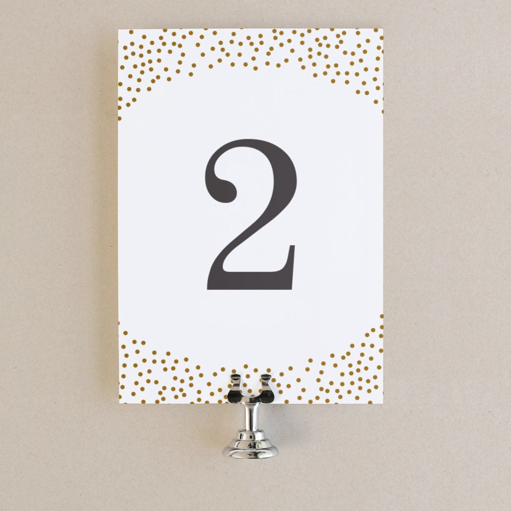 table numbers template diy printable instant download gold dots flat 5x7 editable. Black Bedroom Furniture Sets. Home Design Ideas
