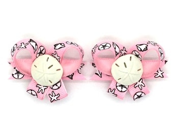 Can You Hear the Ocean? Snap-In Dogs® Bow PAIR, Nautical Dog Bows, Dog Hair Bow Pair, Bows for Dogs, Pairs of Dog Bows, Best Dog Bows