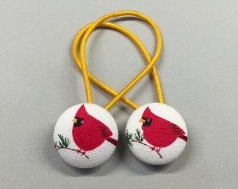 """7/8"""" Size 36 White/Green/Red Cardinal Bird Fabric Covered Button Hair Tie / Ponytail Holder / Party Favor (Set of 2)"""