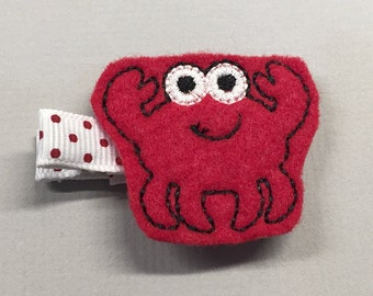 Felt Red Crab Alligator Single Prong Hair Clip - Fully Lined