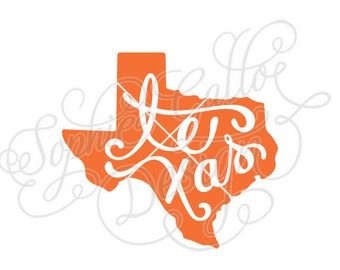 Texas State Script SVG DXF PNG digital download files for Silhouette Cricut vector clip art graphics Vinyl Cutting Machine, Screen Printing