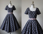 1950s Dress - Vintage 50s Dress - Grey Pink Soft Wool Bias Plaid Circle Skirt Party Dress XS S - Still I Rise Dress