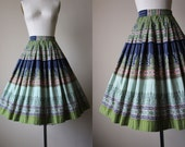 50s Skirt - Vintage 1950s Border Print Skirt - Navy Jadite Olive Coral Indian Print Cotton Full Skirt XS S - Taj Skirt