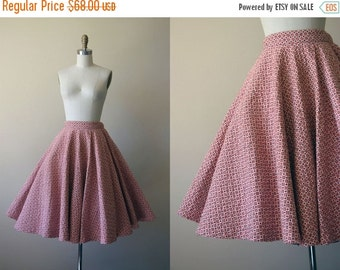 ON SALE 50s Skirt - Vintage 1950s Quilted Circle Skirt - Midcentury Diamond Floral Print Cotton Full Skirt S - Pumpkin Patch Skirt