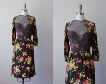 1940s Dress - Vintage 40s Dress - Brown Mustard Cold Rayon Sheer Neckline Sequin Floral Applique Swing Dress M - Pheasant Hour Dress