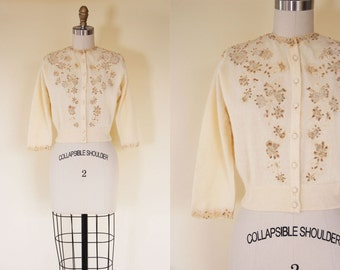 1950s Sweater - Vintage 50s Cashmere Beaded Cutwork Lace Pearl Novelty Butterfly Cardigan S M - Delicacy Sweater