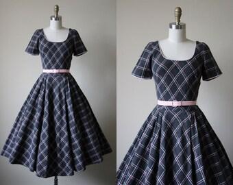 1950s Dress - Vintage 50s Dress - Grey Pink Soft Wool Bias Plaid Circle Skirt Party Dress XS S - Still I Rise Dress