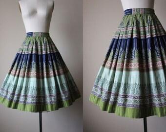 50s Skirt - Vintage 1950s Border Print Skirt - Navy Jadite Olive Coral Indian Print Cotton Full Skirt XS S - Taj Skirt