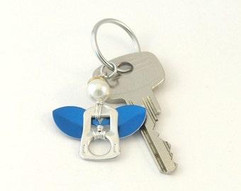 Blue pop tab angel keychain, soda can tab angel keyring,  soda tab angel bag charm, angel key charm, upcycled keychain, recycled keychain